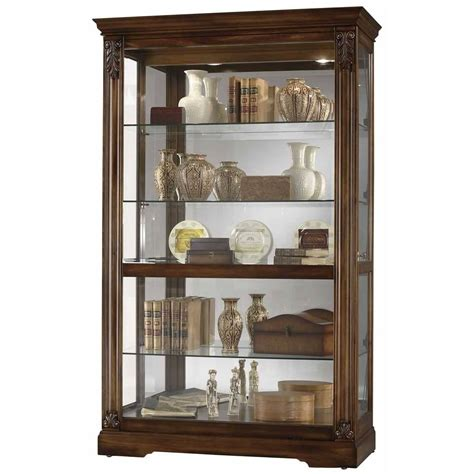 Furniture Curio Cabinet by Howard Miller Large Cherry Curio Display Cabinet Glass