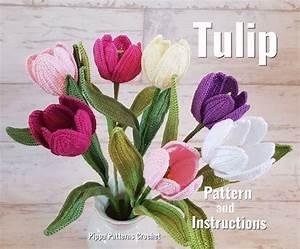 Crochet Tulip Flower Pattern Plant Decoration Home Garden