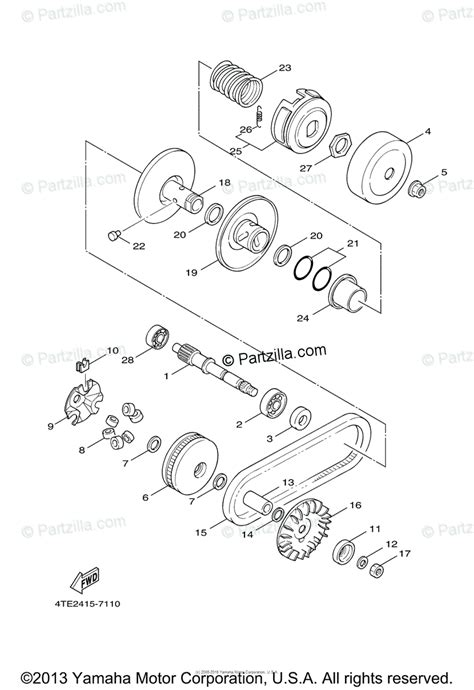 yamaha scooter 2007 oem parts diagram for clutch