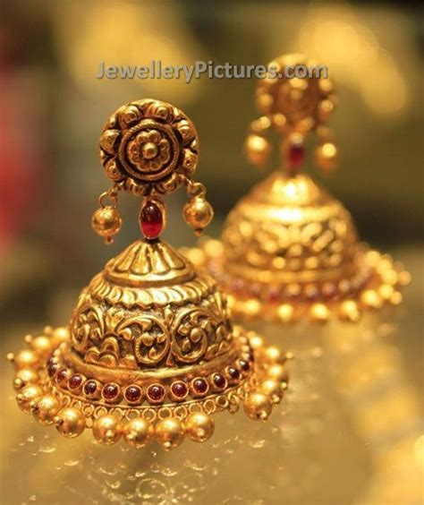gold earrings buttalu temple jewelry jewellery designs