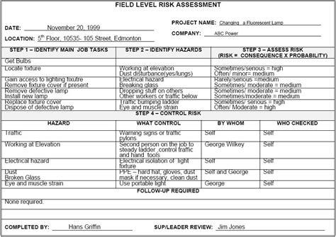 field level hazard assessment form template field