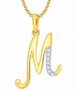 sukkhi letter m gold rhodium plated cz unisex pendant With gold pendant letter m