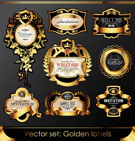 set  luxury golden label design vector