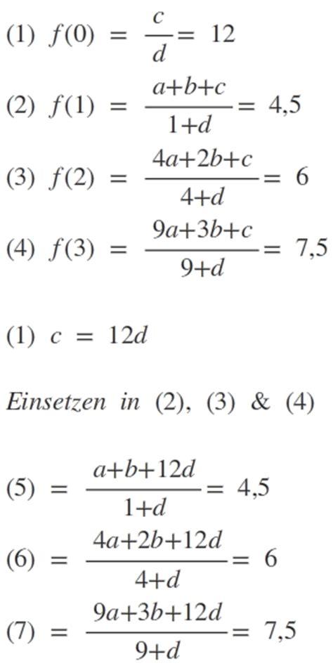 möbel rechnung berechnen sie die konstanten a b c d passtend zur