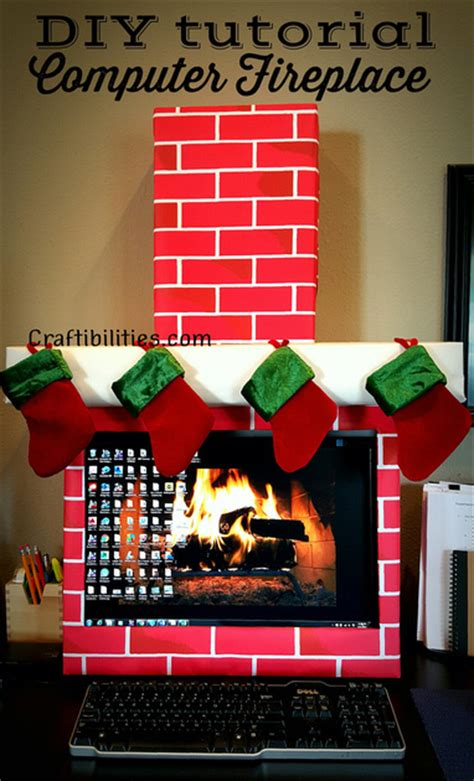 decorate your desk for christmas holiday office idea fireplace computer cubicle fun
