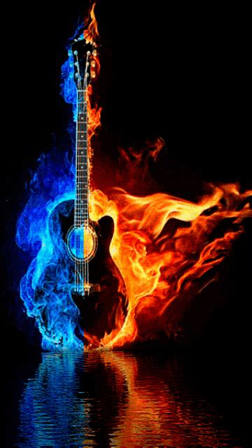 Animated Guitar Wallpaper - choregraphiced animated burning guitar wow different