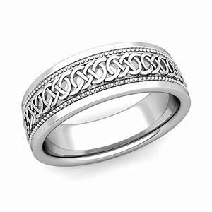 Mens Celtic Knot Wedding Band In 18k Gold Milgrain Comfort