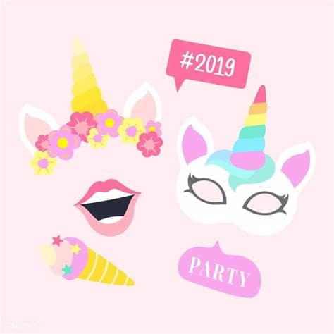 Follow our pinterest account for new cut file. Cute unicorn photo booth party props vector   free image ...