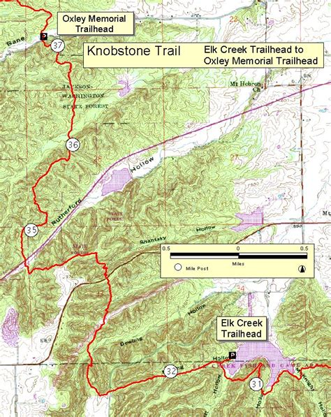Topographic Map Of Knobstone Trail From Oxley Memorial To
