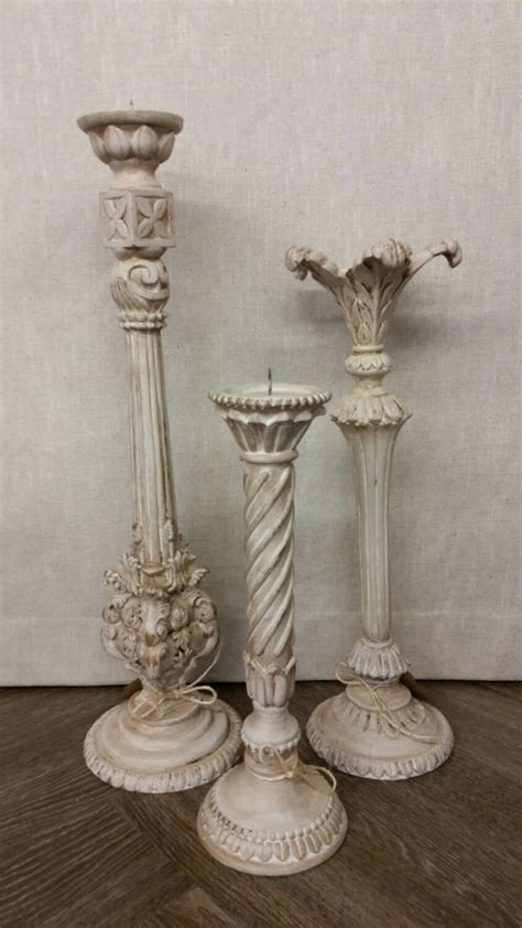 shabby chic candlesticks shabby chic white candlesticks vintage set of 3 chalk paint