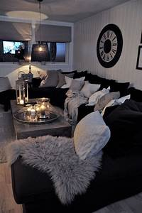 Black, And, White, Living, Room, Interior, Design, Ideas