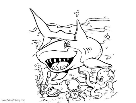 sea coloring pages blue shark  printable