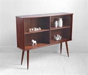 mid century teak bookshelf cabinet wall unit credenza modern