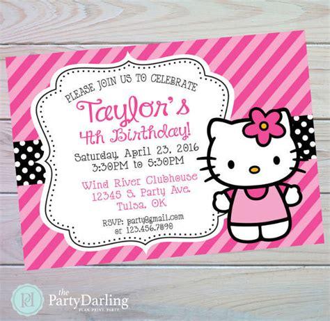 invitation card birthday party  kitty   print