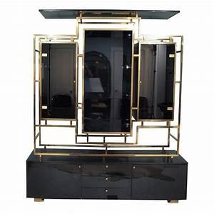 Grand Meuble De Rangement : grand meuble de rangement noir en laiton et verre guy ~ Teatrodelosmanantiales.com Idées de Décoration