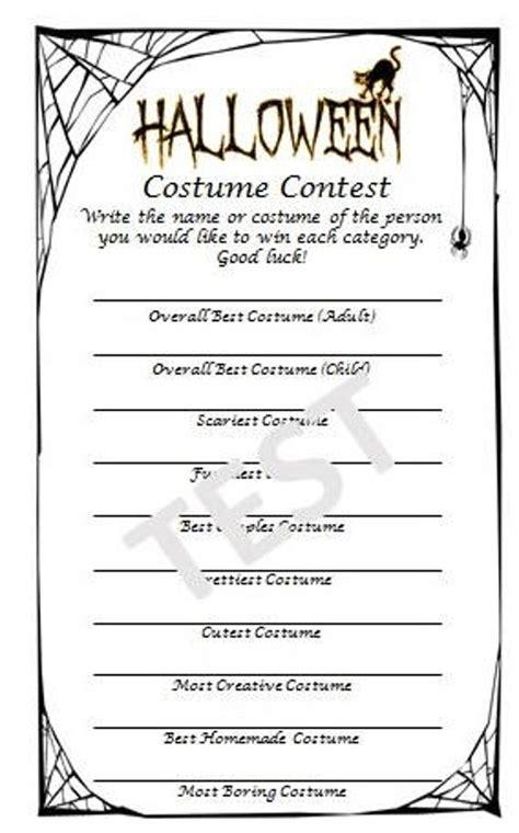 halloween costume contest ballot etsy