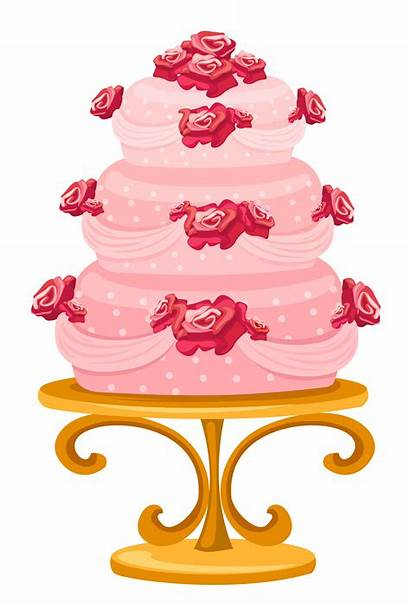 Cake Clipart Stand Roses Cakes Tiered Transparent