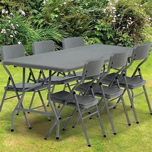Table Pliante D Appoint : table pliante d 39 appoint effet r sine tress e grise 180 cm ~ Melissatoandfro.com Idées de Décoration
