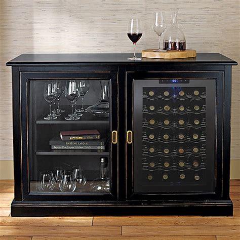 Wine Storage Credenzas - siena mezzo wine credenza nero with wine refrigerator