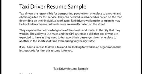 taxi driver description resume great sle resume taxi driver resume sle