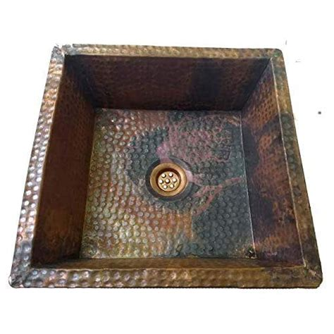amazoncom fire treated vintage  rustic copper kitchen bathroom undermount square sink