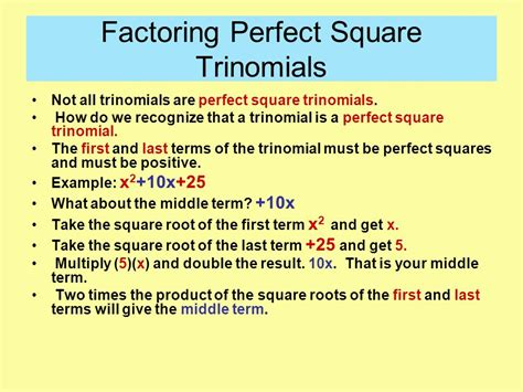 Factoring Perfect Square Trinomials  Ppt Video Online Download