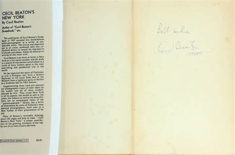 Cecil Beaton's New York, Signed