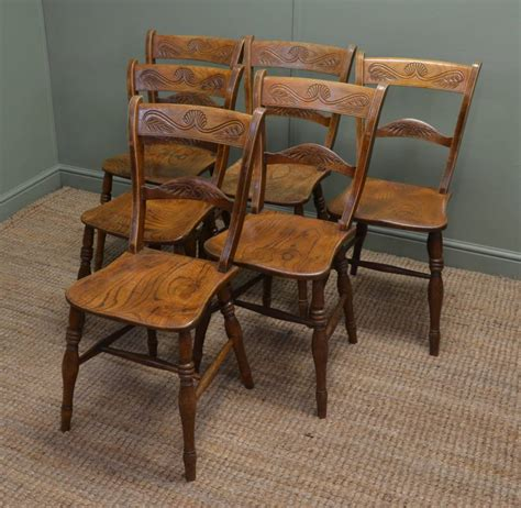 set   victorian elm antique country kitchen chairs
