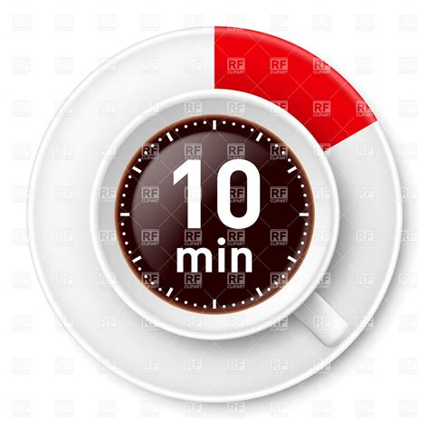 Cup Of Coffee With Time Limit For Break Ten Minutes Illustration On White Background Vector