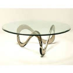 INFINITY ACRYLIC COFFEE TABLE WITH ROUND BEVELED GLASS TOP