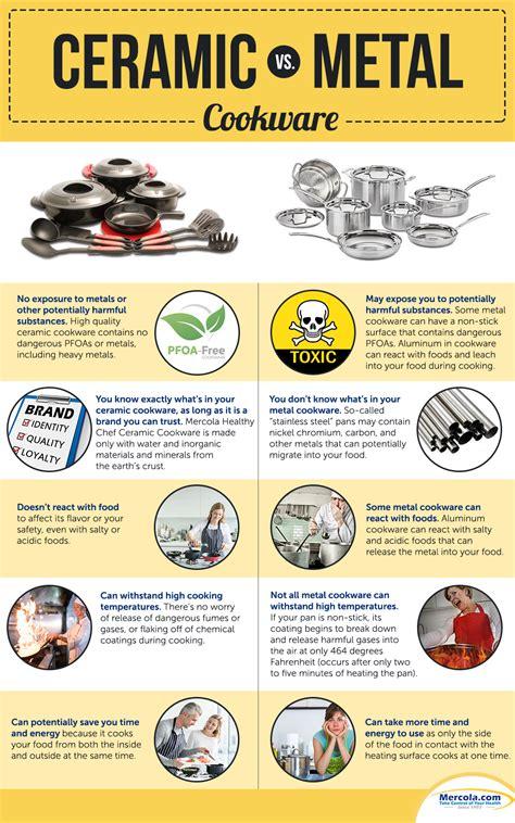 comparison  ceramic  metal cookware infographic