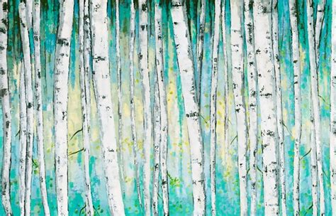 aqua forest oil painting canvas wall art