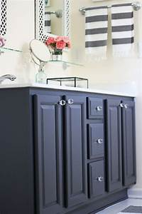 painting bathroom vanity My Painted Bathroom Vanity Before and After – Two Delighted