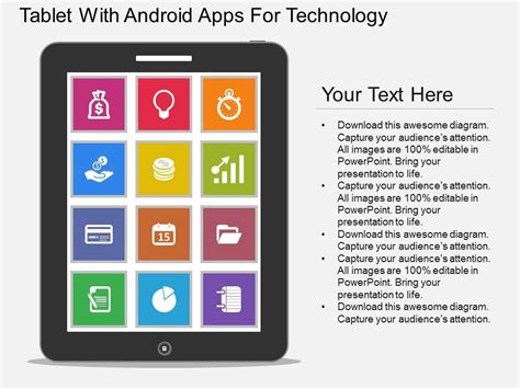 Ppt Tablet With Android Apps For Technology Flat