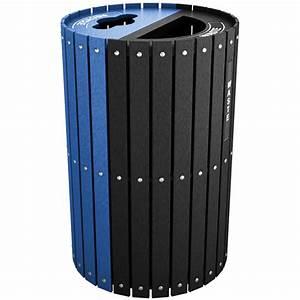Split Two-Stream Recycling & Waste Barrel w/ Hinged Doors ...