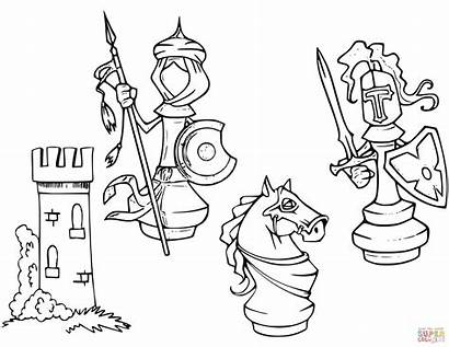 Chess Ajedrez Cartoon Colorear Clipart Coloring Piezas