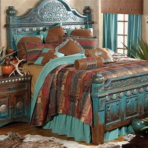 Southwestern, Distressed, Bed, And, Southwestern, Bedroom, Decor