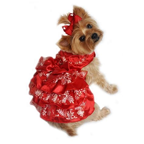 red white  gold organza dog dress baxterboo
