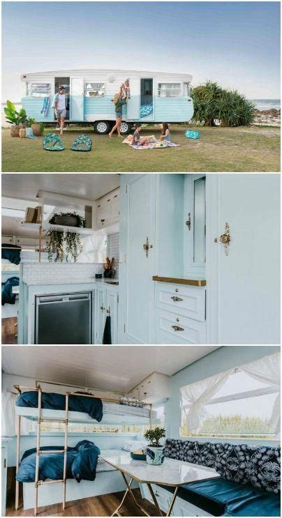 renovated vintage camper boasts  sumptuous mix  pastel