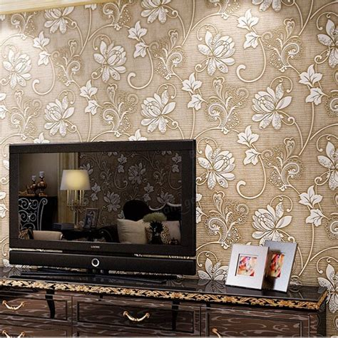 10m 3ft Floral 3d Nonwoven Wallpaper Roll Embossed