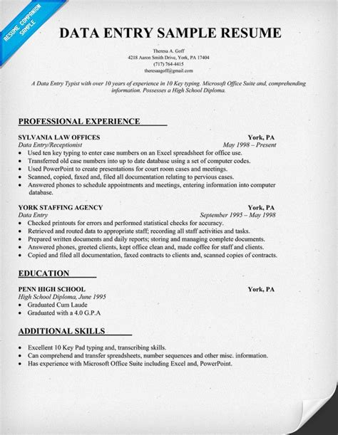 Resume Data by Data Entry Resume Sle