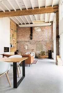 Mur Brique Salon : verriere atelier loft sol beton cire poutre apparente mur ~ Zukunftsfamilie.com Idées de Décoration