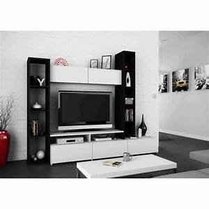 Meuble Tv Mural Blanc : wall ensemble s jour contemporain b ne et blanc l 211 ~ Dailycaller-alerts.com Idées de Décoration