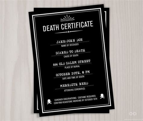 sample death certificate templates