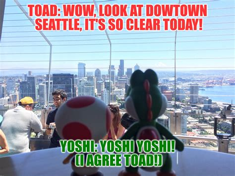Seattle Meme - toad yoshi enjoy the view from the space needle imgflip