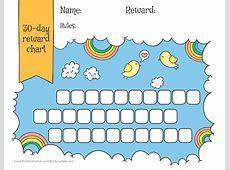 Rainbow & sky 30day reward chart for kids Free