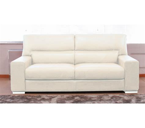 canapé 3 places smerlado cuir massif blanc prix promo