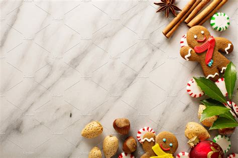 holiday background  gingerbread high quality food