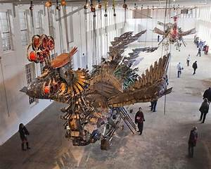 Xu bing arrives at mass moca with his 12 ton birds made of for Xu bing arrives at mass moca with his 12 ton birds made of construction equipment