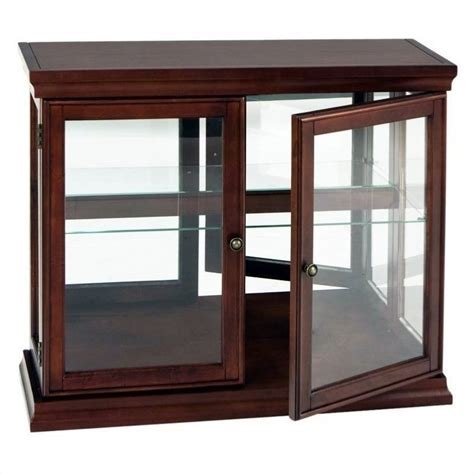 Southern Enterprises Mahogany Curio Console Table with